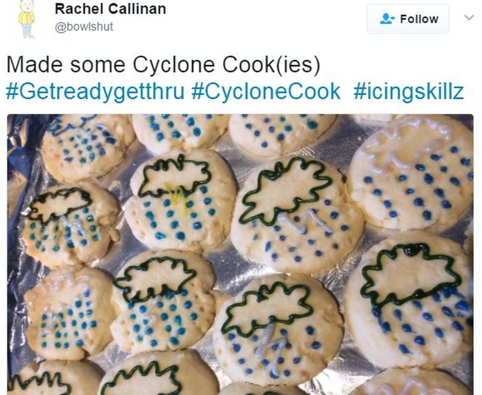 "@bowlshut tweeted: ""Made some Cyclone Cook(ies)"" with a picture of cookies decorated with storm symbols"