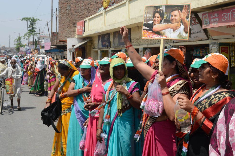 Supporters of Congress Party waits for Party President, Rahul Gandhi as he will arrive to file his nomination from Amethi Constituency, in Uttar Pradesh.