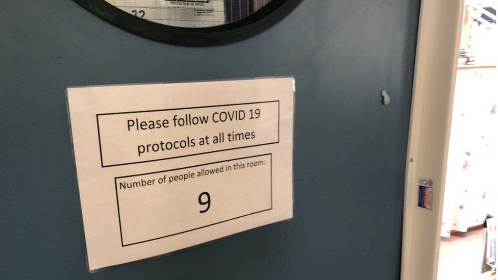 sign on classroom door