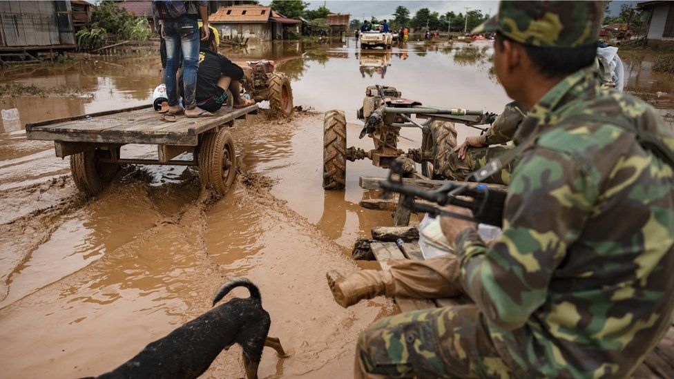 troops travel to affected villages