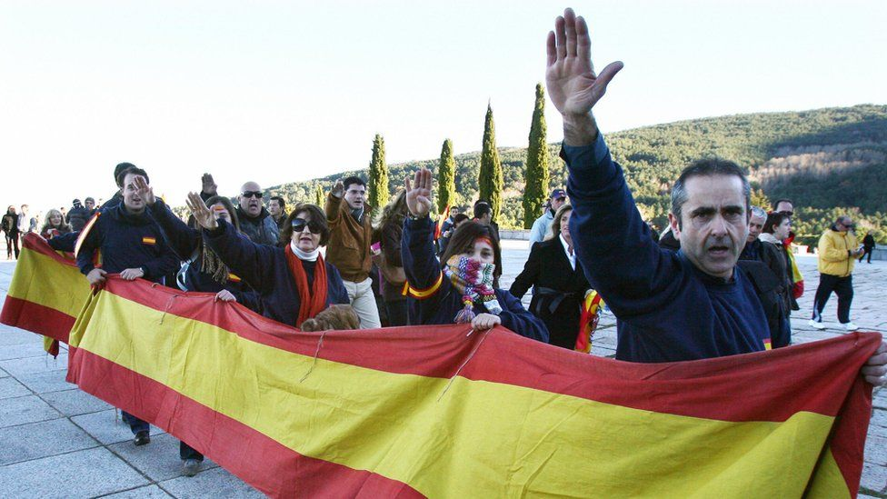 The fascist salute is given by supporters of Spanish dictator Francisco Franco on 17 November 2007 outside the basilica of Santa Cruz at the Valley of the Fallen