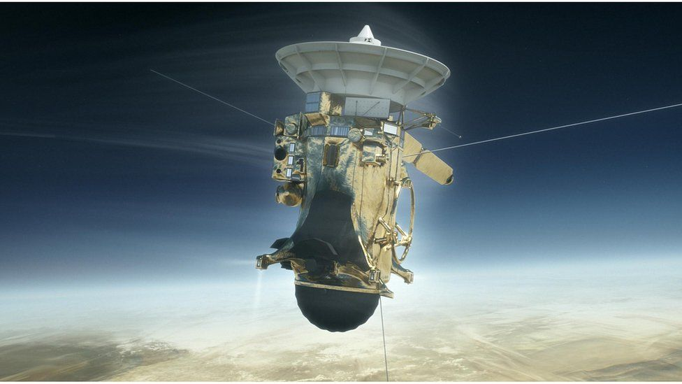 Artwork: Cassini going into the atmosphere of Saturn