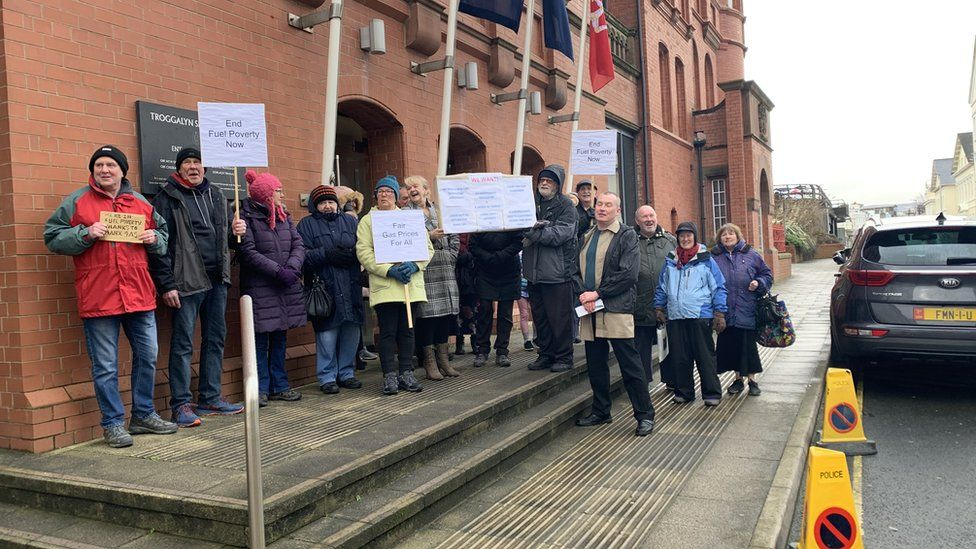 A protest outside the Tynwald building