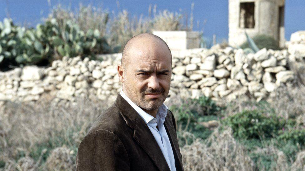Italian actor Luca Zingaretti in the TV mini-series Inspector Montalbano, Sicily, 2000