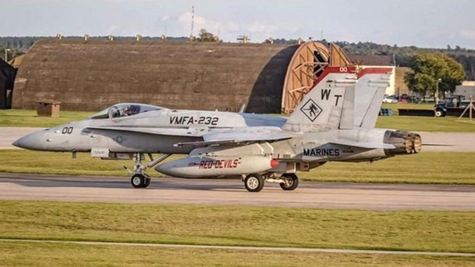 A photograph believed to be of the actual F-18 which later crashed