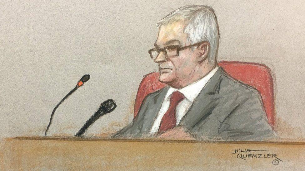 Court sketch of Sir John Mitting