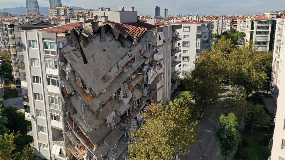 An aerial view shows a damaged building after an earthquake in the Aegean port city of Izmir, Turkey November 1, 2020.