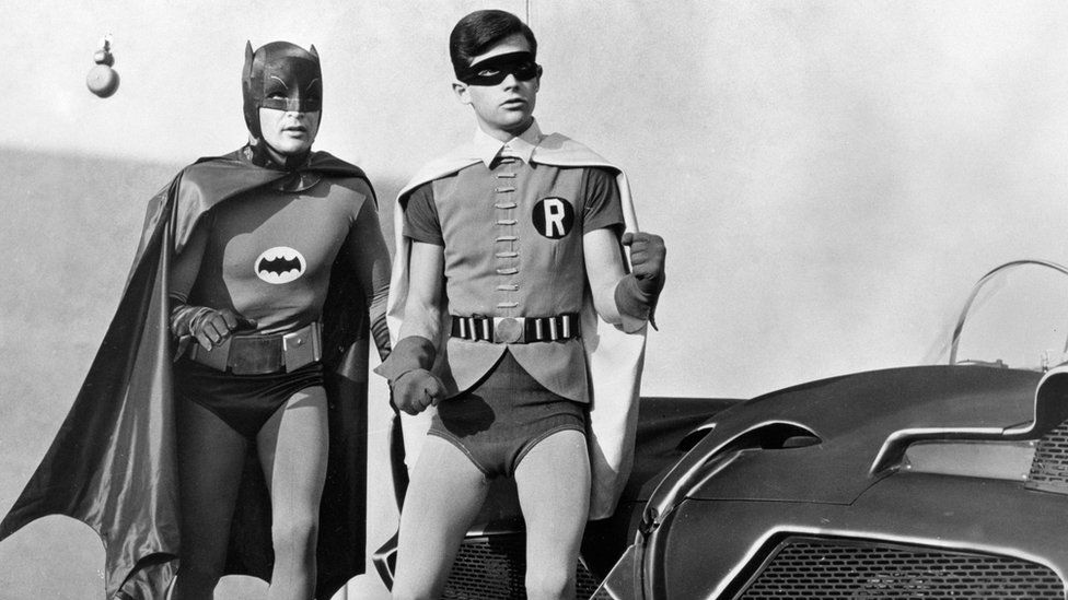Adam West with Burt Ward as Robin