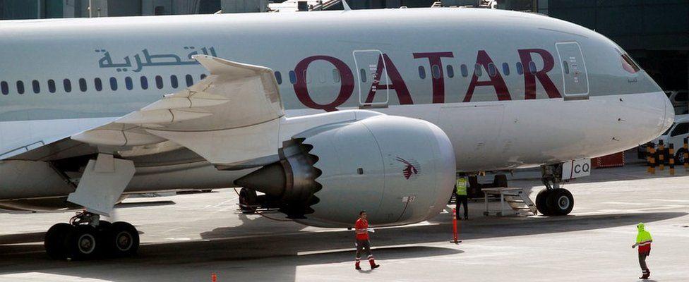 A Qatar airways plane at Doha airport