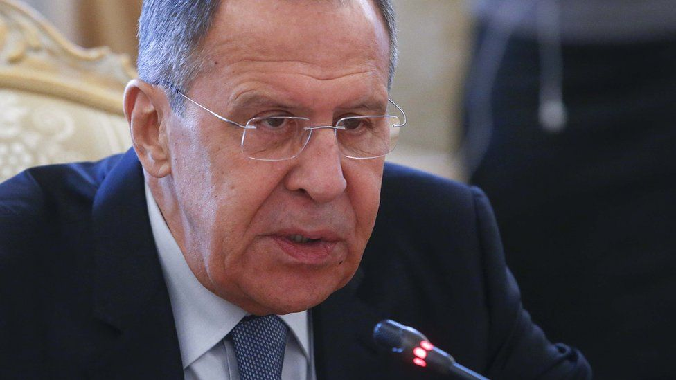 Close-in headshot of Mr Lavrov talking