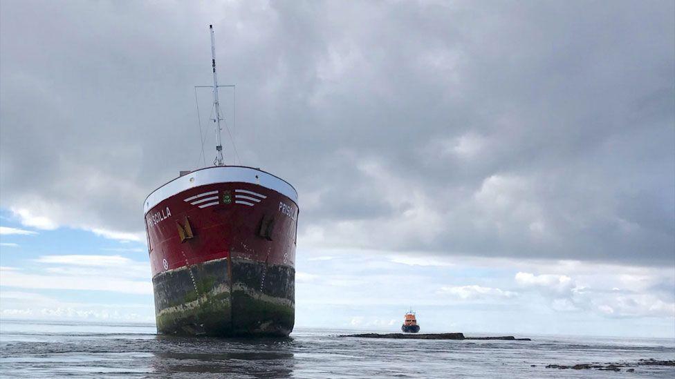 Aground cargo ship Priscilla