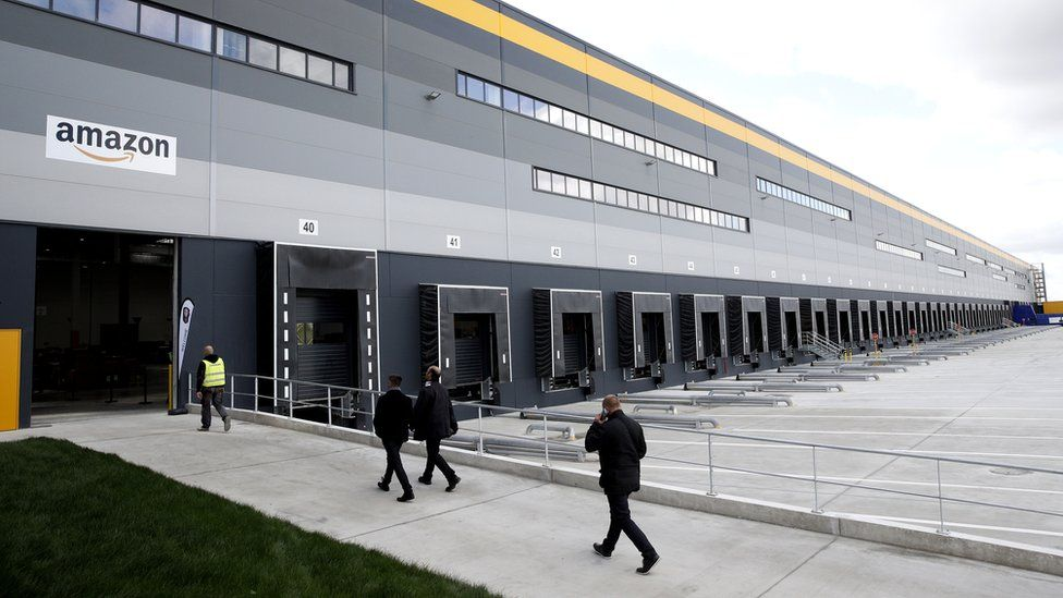 An exterior view of the Amazon factory in Boves, near Amiens, northern France