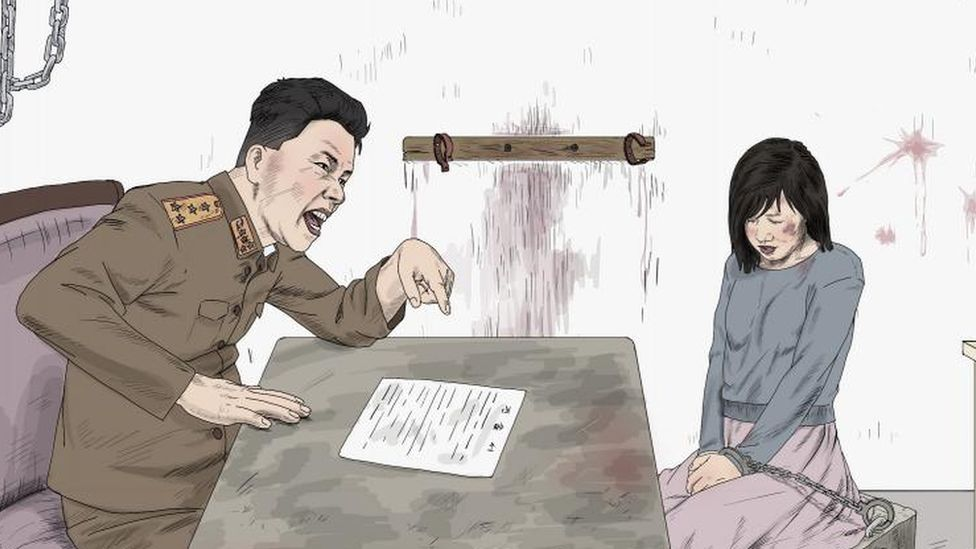 Graphic of a women being questioned by a secret police investigator