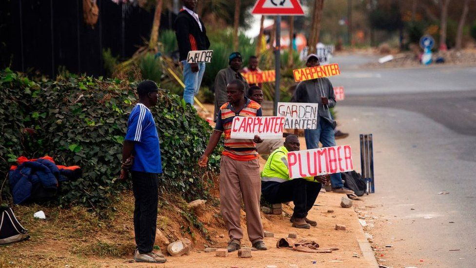 Job seekers wait on the side of a road holding placards reading their specialisation in Johannesburg.
