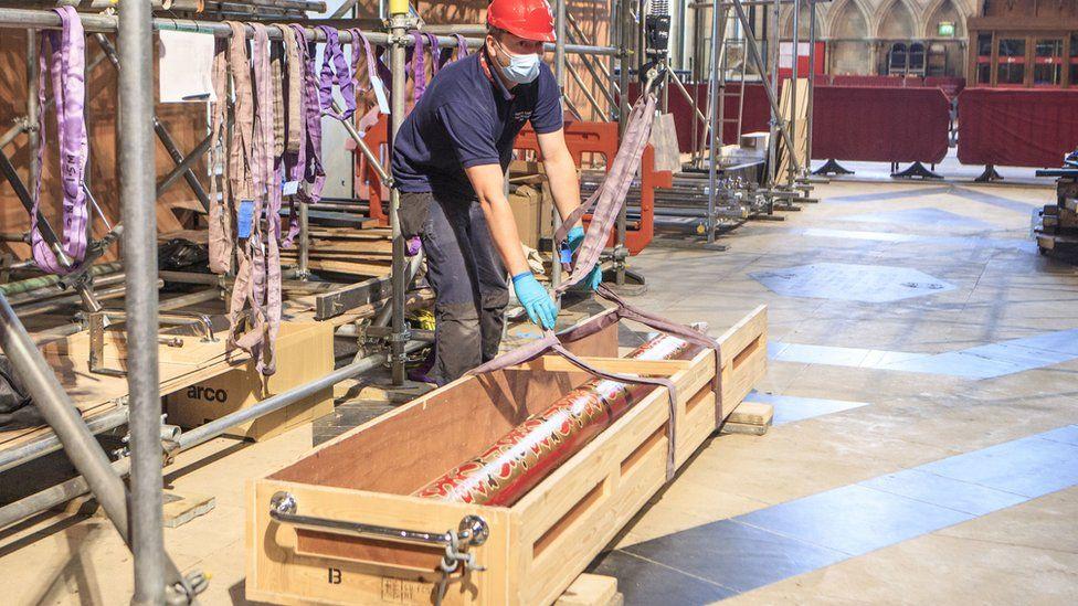 Organ restoration work in York Minster