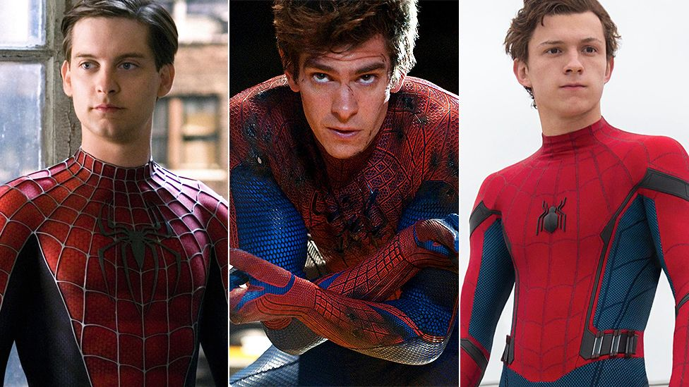 From left to right: Tobey Maguire, Andrew Garfield, and Tom Holland