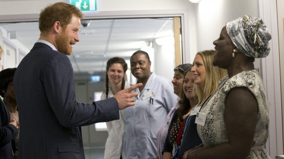 Prince Harry with nursing staff