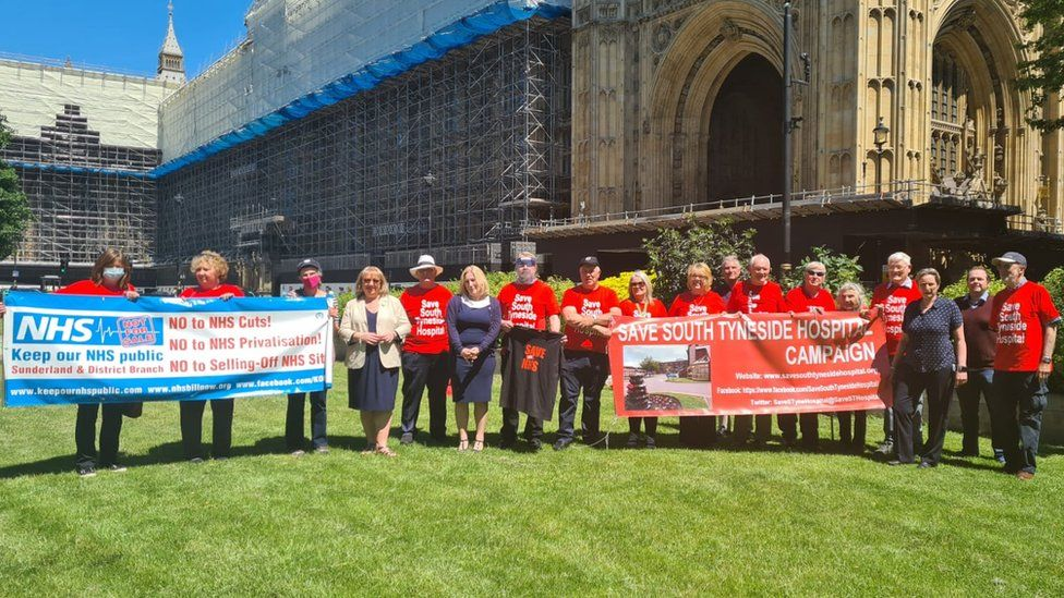 Campaigners and local MPs at Westminster