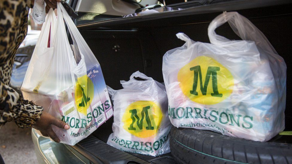 Morrisons shopping bags being placed in a car boot