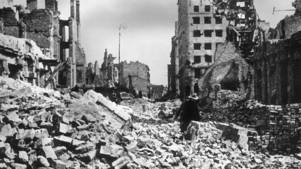 A view of rubble and ruined buildings covering the streets after the German bombing of Warsaw, Poland