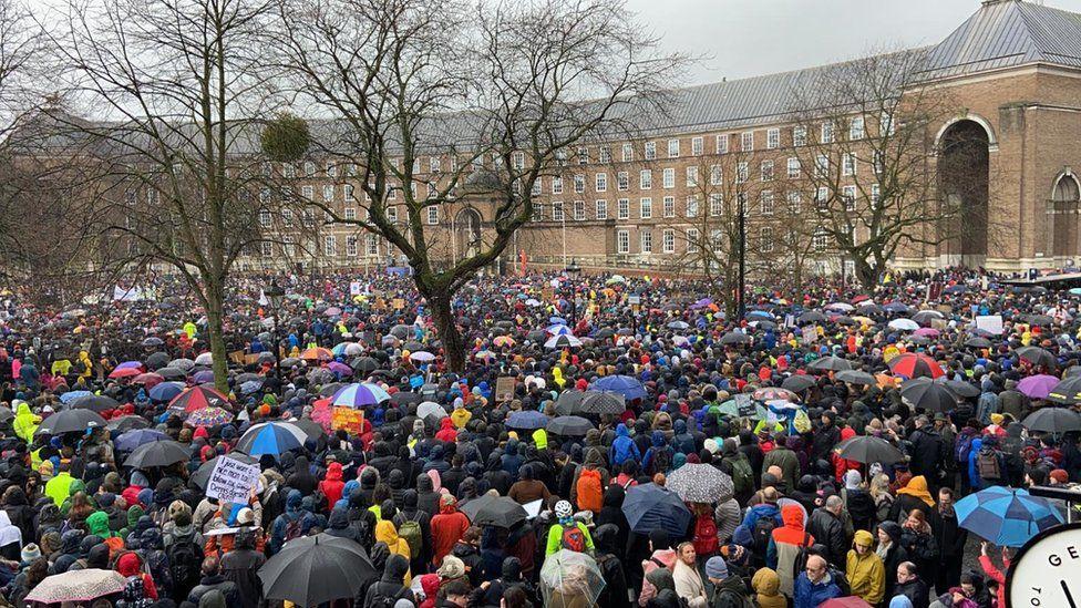The crowds on College Green in Bristol to hear Greta Thunberg speak