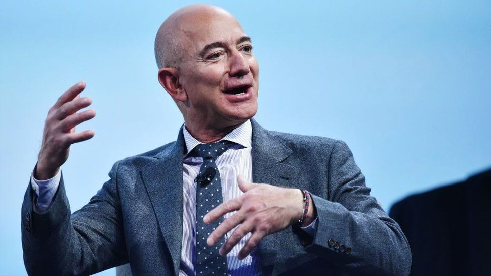 Jeff Bezos speaking at an event in October 2019.