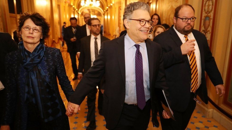 Mr Franken arrived at the Capitol holding hands with his wife