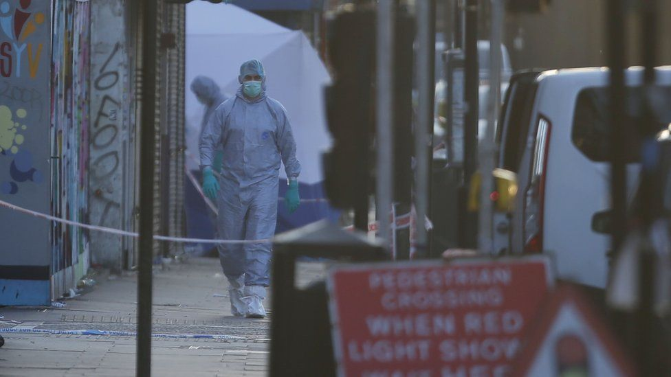 Forensic teams on the scene in Finsbury Park