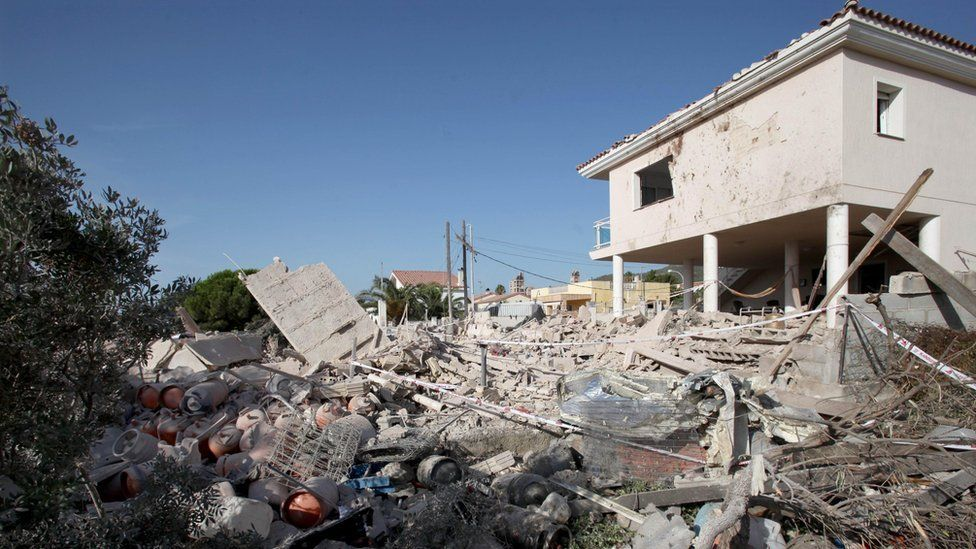 House where an explosion took place in the Spanish town of Alcanar