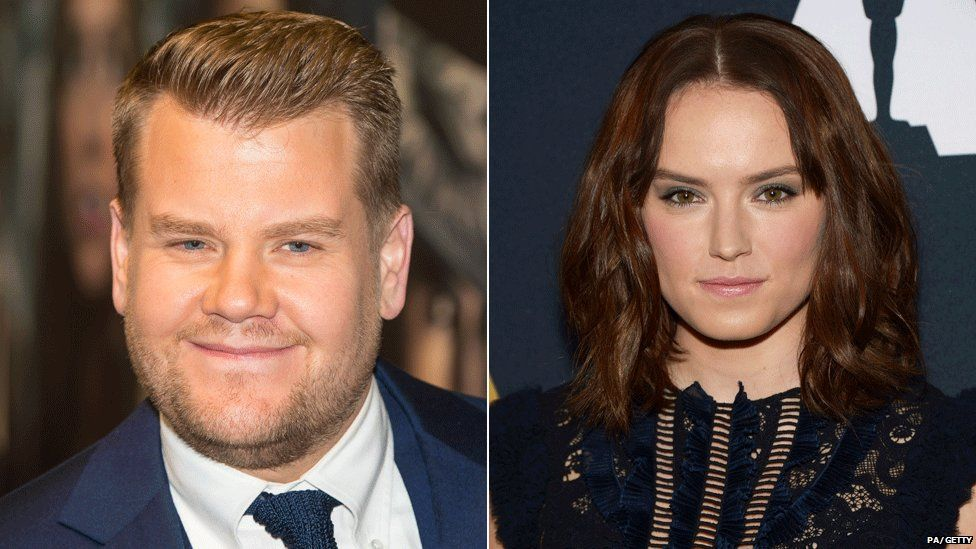 James Corden and Daisy Ridley