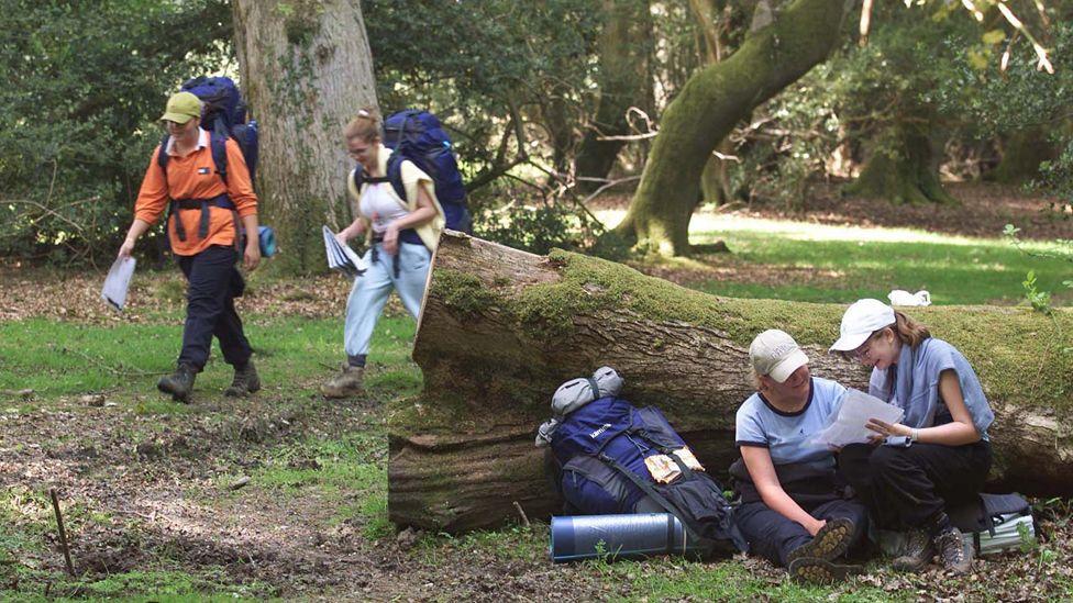 Duke of Edinburgh award participants trek through the New Forest