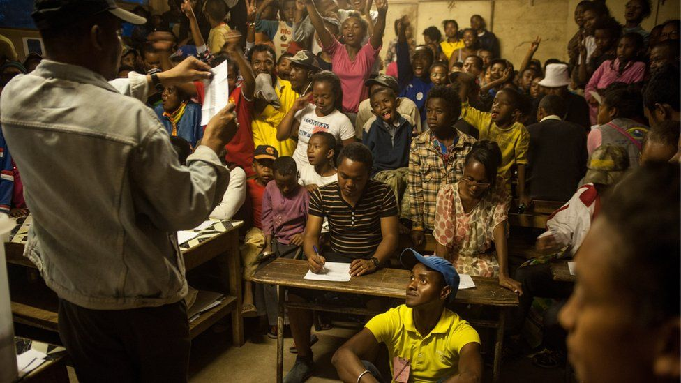 electoral officials count votes in the capital Antananarivo