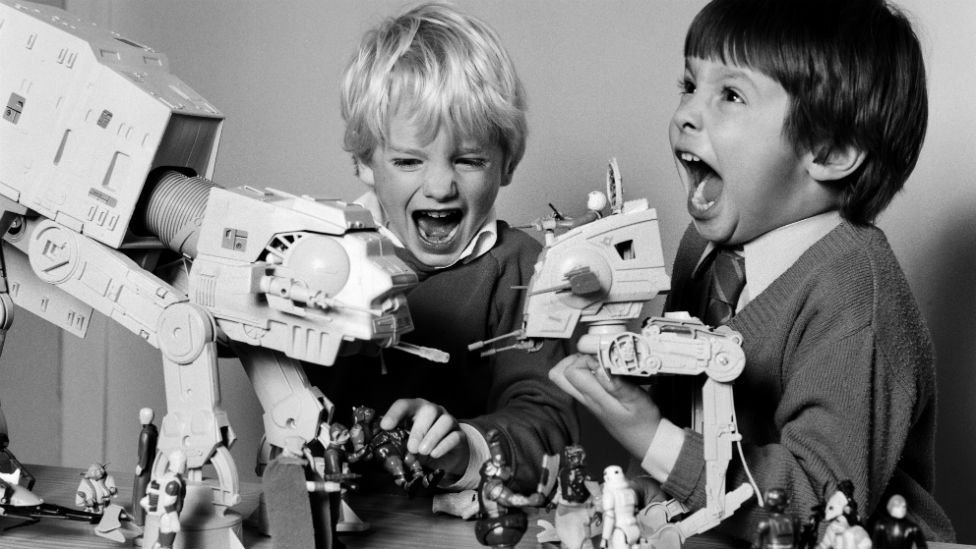 Two boys playing with their Star Wars toys in 1983.