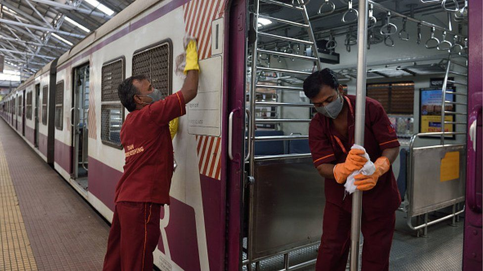Trains being cleaned in Mumbai