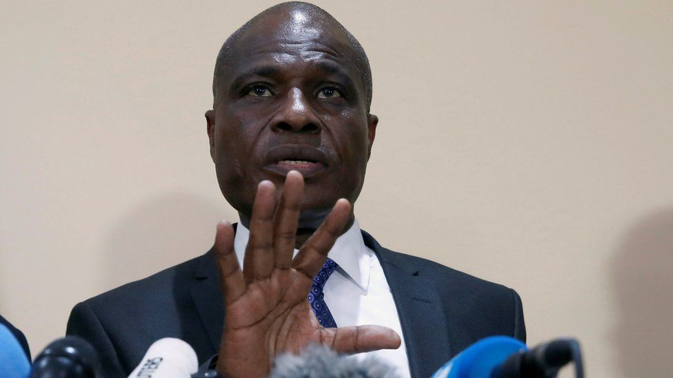 Martin Fayulu, Congolese joint opposition presidential candidate, speaks during a press conference in Kinshasa, Democratic Republic of Congo, 8 January 2019