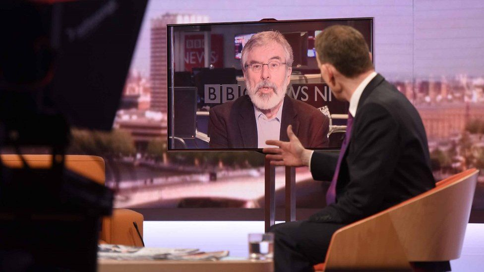 Gerry Adams appearing on the Andrew Marr show in 2017