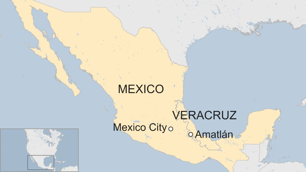 Map showing the location of Amatlán de los Reyes in the state of Veracruz, Mexico