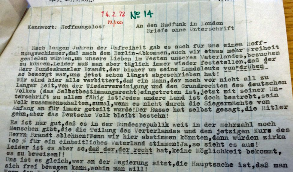 example of letter from the BBC archives