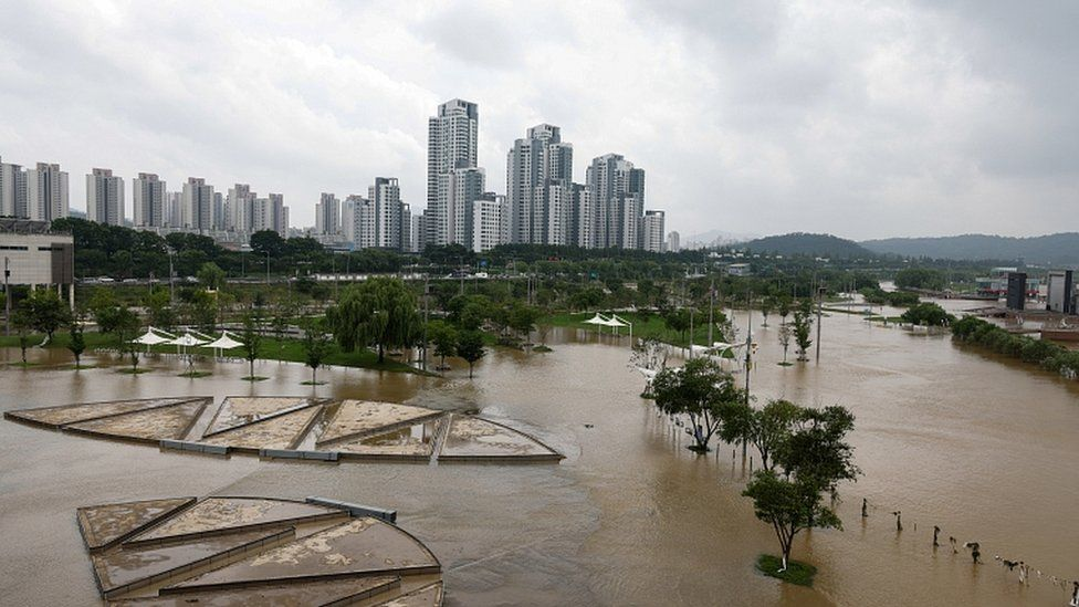 Han River overflowing its banks in Seoul, South Korea, 04 August 2020