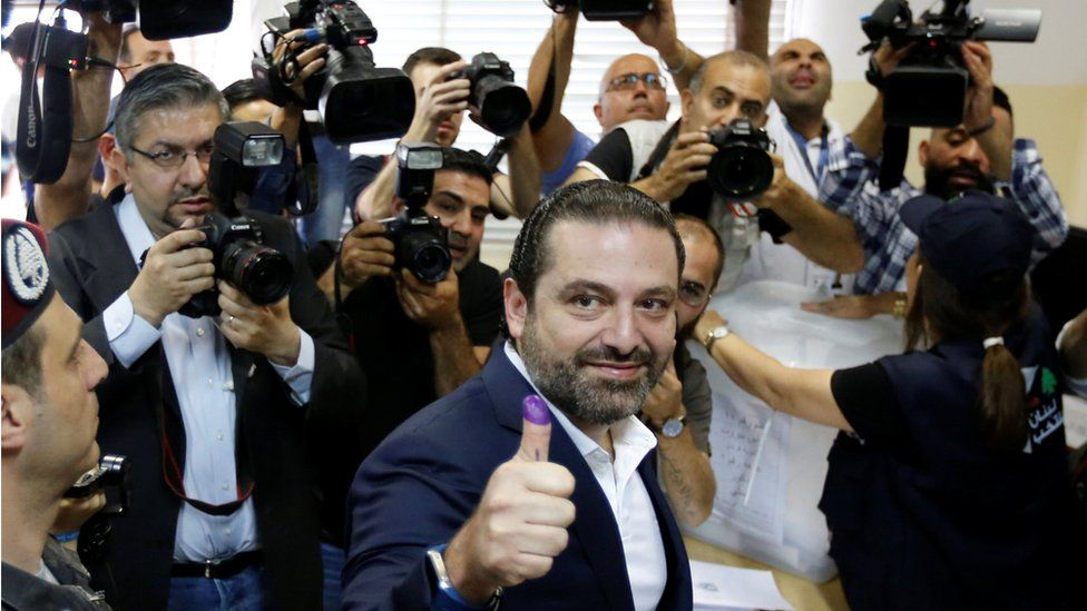 Lebanese Prime Minister and candidate for the parliamentary election Saad al-Hariri