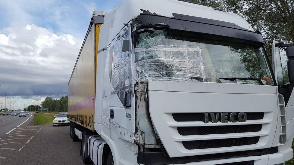 Damaged lorry