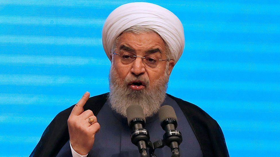 Iranian President Hassan Rouhani gives a speech in the city of Tabriz (25 April 2018)