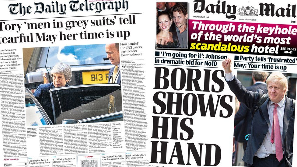 Front pages for 17 May 2019