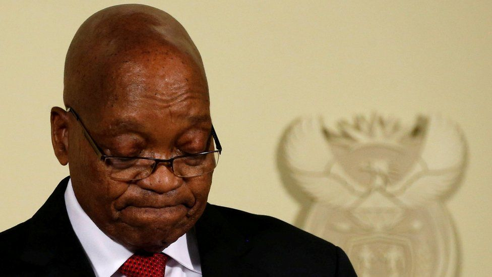 South Africa's President Jacob Zuma looks down as he speaks at the Union Buildings in Pretoria, South Africa, February 14, 2018.