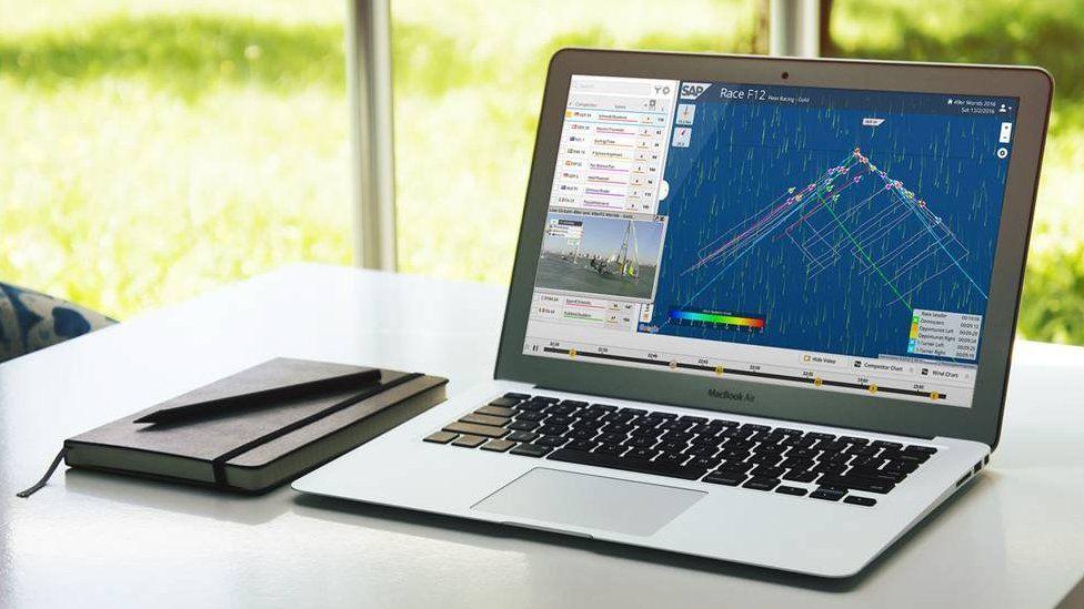 Laptop displaying tide analyser software