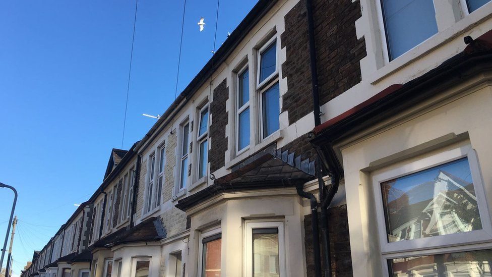 A row of terraced houses in Cardiff