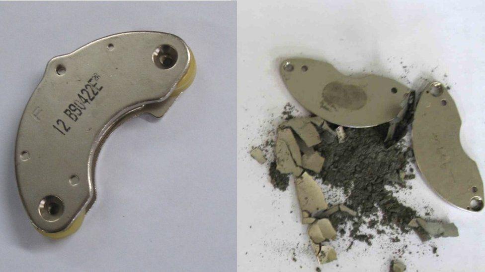 Neodymium powder falls from a broken hard disk