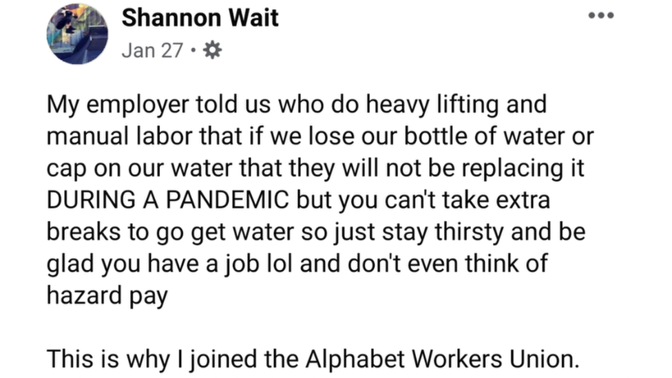 Shannon Wait's Facebook post