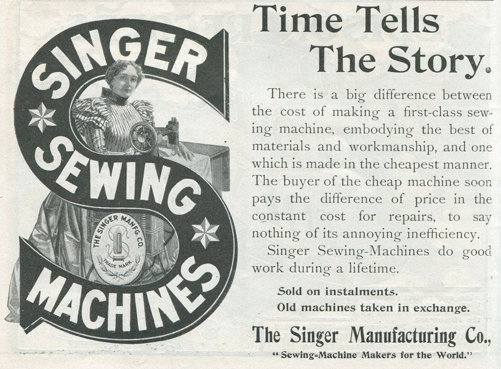 An advertisement for Singer Sewing Machines from 1900