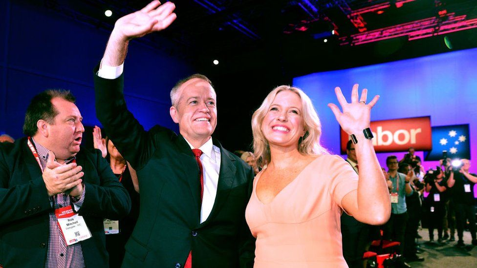 Bill and Chloe Shorten wave to crowds